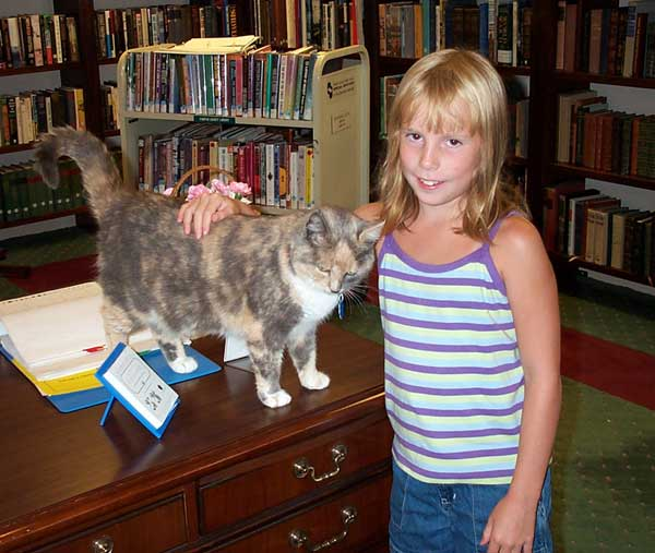 Sarah with Emily, the Library Cat